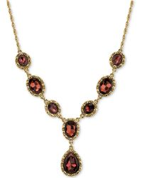 2028 | Gold-tone Burgundy Crystal Lariat Necklace | Lyst