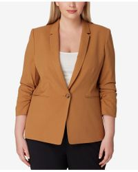 8a590524da3 Lyst - Tahari Plus Size Textured Hopsack Jacket in Pink