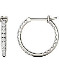 Charles & Colvard - Moissanite Hoop Earrings (3/8 Ct. T.w. Diamond Equivalent) In 14k White Gold - Lyst
