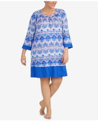 Ellen Tracy - Plus Size Printed Sleepshirt - Lyst