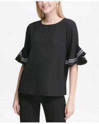 Calvin Klein - Ruffled-sleeve Top, Created For Macy's - Lyst
