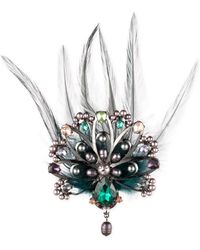 Carolee - Hematite-tone Crystal, Imitation Pearl & Feather Peacock Pin - Lyst