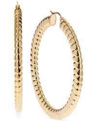 Hint Of Gold - Ribbed Hoop Earrings, 62mm - Lyst