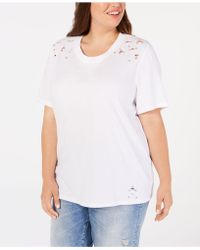 Soprano - Trendy Plus Size Cotton Ripped T-shirt - Lyst