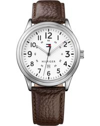 Tommy Hilfiger - Men's Table Brown Leather Strap Watch 42mm 1791259 - Lyst
