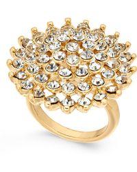 INC International Concepts - Gold-tone Pavé Flower Ring - Lyst