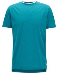 BOSS - Double-collar Mercerised Cotton T-shirt - Lyst
