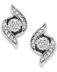 Wrapped in Love - Diamond Twist Earrings In 14k White Gold (1/4 Ct. T.w.) - Lyst