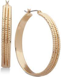 Nine West - Triple Layer Textured Hoop Earrings - Lyst