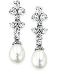 Arabella - Cultured Freshwater Pearl (8mm) And Swarovski Zirconia (1-3/4 Ct. T.w.) Earrings In Sterling Silver - Lyst
