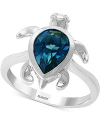 Effy Collection - Effy® London Blue Topaz (2-3/8 Ct. T.w.) & Diamond Accent Turtle Ring In Sterling Silver - Lyst