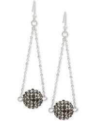 Touch Of Silver - Pavé Ball Chandelier Earrings In Silver-plate - Lyst