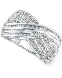 Macy's - Diamond Crisscross Ring (1/2 Ct. T.w.) In Sterling Silver - Lyst