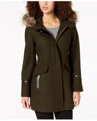 Trina Turk - Hooded Fur-trim Coat - Lyst