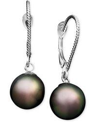 Macy's - Pearl Earrings, 14k White Gold Cultured Tahitian Pearl Drop Earrings (8mm) - Lyst