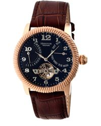 Heritor - Automatic Piccard Rose Gold & Black Leather Watches 44mm - Lyst