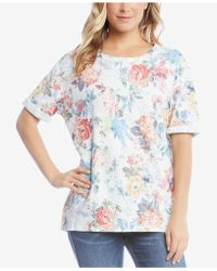 Karen Kane - Cotton Printed Cuffed T-shirt - Lyst
