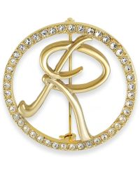 Charter Club - Gold-tone Crystal Initial Pin - Lyst