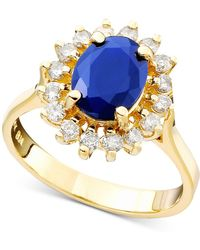 Effy Collection - Sapphire (1-9/10 Ct. T.w.) And Diamond (1/2 Ct. T.w.) Oval Ring In 14k Gold - Lyst