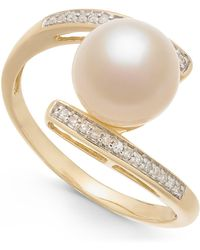 Macy's - Cultured Freshwater Pearl (8mm) & Diamond Accent Ring In 14k Gold - Lyst