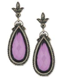 2028 - Hematite-tone Purple Stone Drop Earrings - Lyst