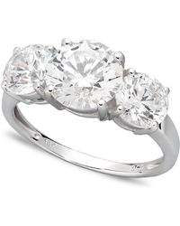 Arabella - 14k White Gold Ring, Swarovski Zirconia Three Stone Ring (6-1/5 Ct. T.w.) - Lyst