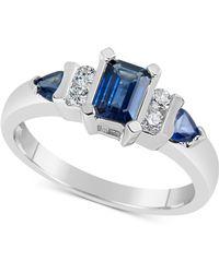 Macy's - Sapphire (1-1/10 Ct. T.w.) & Diamond (1/8 Ct. T.w.) Ring In 14k White Gold - Lyst