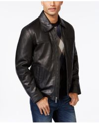 Perry Ellis - Open Bottom Leather Jacket With Printed Lining - Lyst