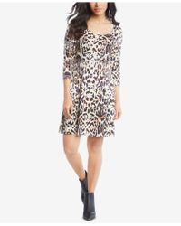 Karen Kane - 3/4-sleeve Printed A-line Dress - Lyst