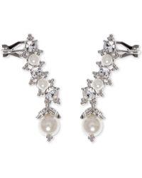 Marchesa - Cubic Zirconia & Imitation Pearl Ear Climber Earrings - Lyst