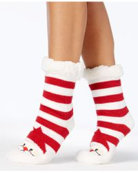 Charter Club - Women's Santa Striped Slipper Socks With Fleece & Grippers - Lyst