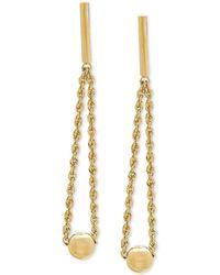 Macy's - Bead & Rope Drop Earrings In 14k Gold, 1 3/8 Inches - Lyst