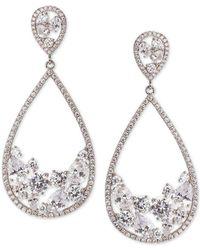 Nina - Silver-tone Crystal Drop Earrings - Lyst