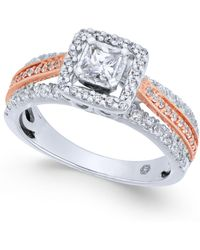 Macy's - Diamond Princess Cut Two-tone Engagement Ring (1 Ct. T.w.) In 14k White & Rose Gold - Lyst