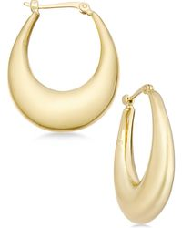 Macy's - Polished Oval Puff Hoop Earrings In 14k Gold - Lyst