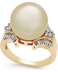 Macy's - Cultured Golden South Sea Pearl (13mm) And Diamond (1/2 Ct. T.w.) Statement Ring In 14k Gold - Lyst