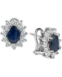 Macy's - Sapphire (3 Ct. T.w.) And Diamond (1-1/5 Ct. T.w.) Earrings In 14k White Gold - Lyst