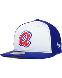 separation shoes 66b64 0c4fb KTZ Atlanta Braves 59fifty Bro Cap in Blue for Men - Lyst