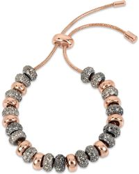 Kenneth Cole - Two-tone Black Crystal Beaded Slider Bracelet - Lyst