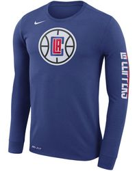 Lyst - Nike Dri-fit Cotton Logo Long Sleeve T-shirt in Blue for Men b2613d5a0