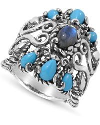 Carolyn Pollack - Labradorite And Turquoise Rope Ring In Sterling Silver - Lyst