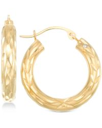 Signature Gold - Diamond Cut Small Hoop Earrings In 14k Gold - Lyst