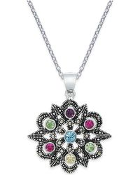 Macy's | Marcasite & Colored Crystal Openwork Pendant Necklace In Silver-plate | Lyst