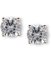 Nine West - Earrings, Silver-tone Round-cut Crystal Stud Earrings - Lyst