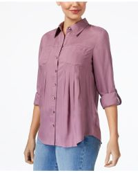 Style & Co. - Pocketed Roll-tab Shirt - Lyst