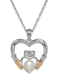 Macy's | Cultured Freshwater Pearl (5mm) And Diamond Accent Heart Pendant Necklace In Sterling Silver And 14k Gold | Lyst