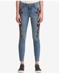 DKNY - Floral Embroidered Skinny Jeans - Lyst
