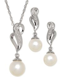 Macy's - Cultured Freshwater Pearl (7-8mm) And Diamond Accent Jewelry Set In Sterling Silver - Lyst