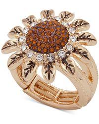 Anne Klein - Gold-tone Crystal Sunflower Stretch Ring - Lyst