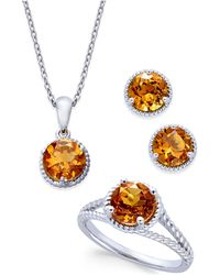 Macy's - Citrine Rope-style Pendant Necklace, Stud Earrings And Ring Set (4 Ct. T.w.) In Sterling Silver - Lyst